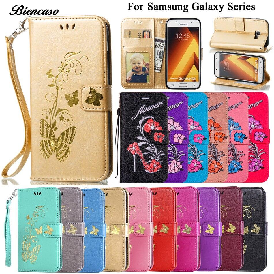 Embossed Flower <font><b>Shoes</b></font> Leather Wallet Case for <font><b>Samsung</b></font> Galaxy A3 A5 A7 2016 2017 J2 J7 MAX J1 Mini Prime Flip Card Slot Cover B00