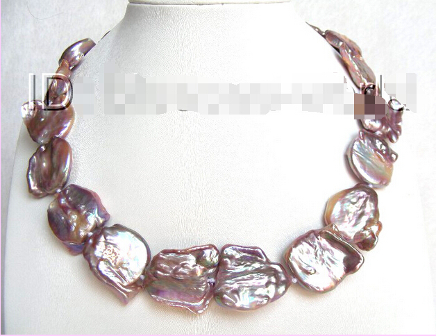 Free shipping@@@@@ GREAT big 22mm PURPLE nautral southsea Reborn keshi pearls necklace b1235 great big schoolhouse