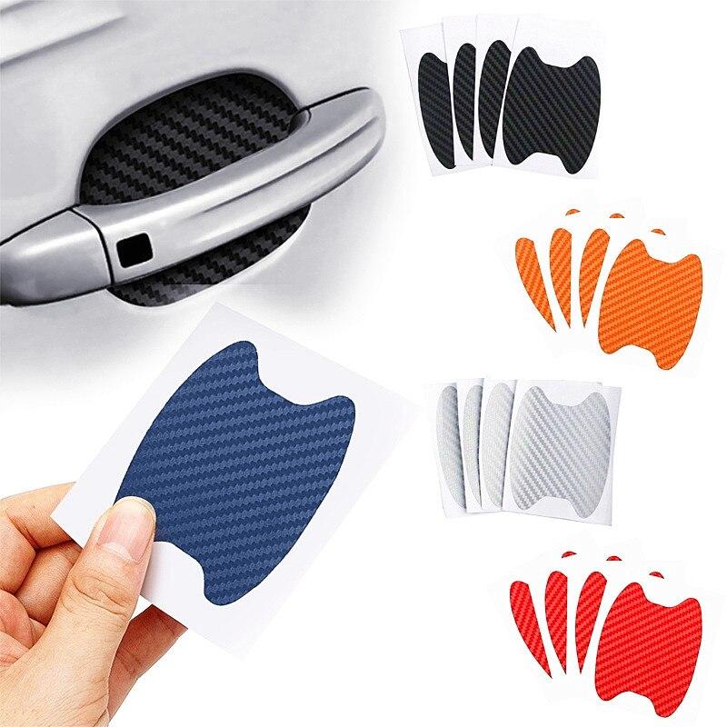 4 sztuk/zestaw naklejki drzwi samochodu z włókna węglowego zadrapania plandeka Auto ochrona klamki Film stylizacja zewnętrzna akcesoria
