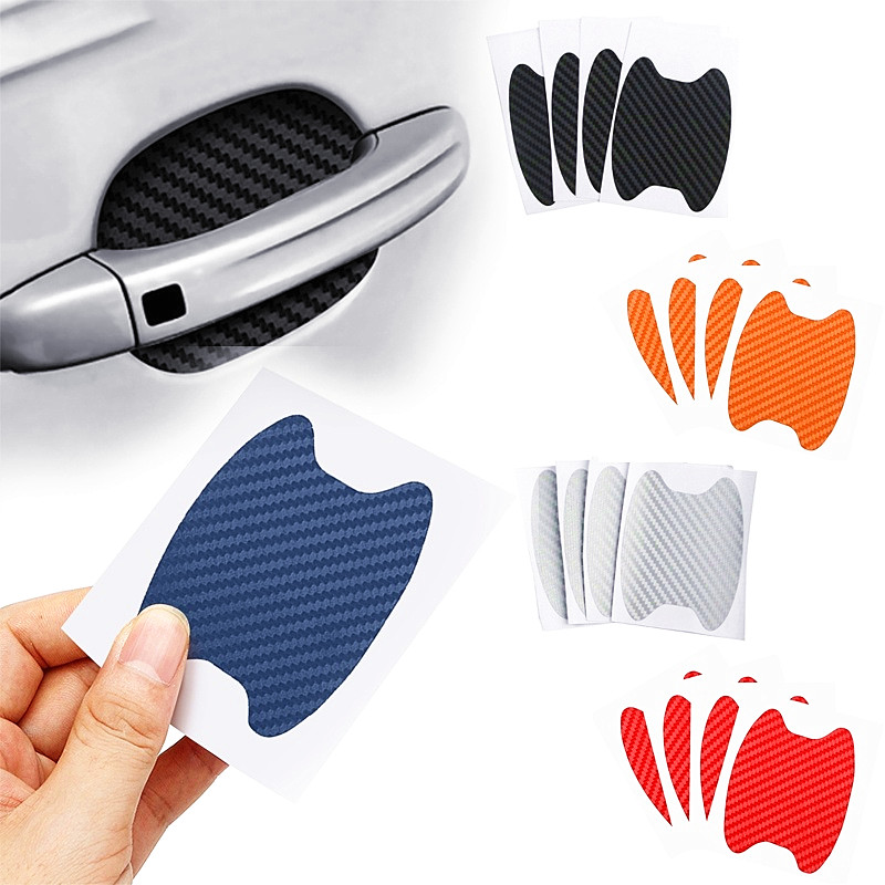 4Pcs/Set Car Door Sticker Carbon Fiber Scratches Resistant Cover Auto Handle Protection Film Exterior Styling Accessories(China)