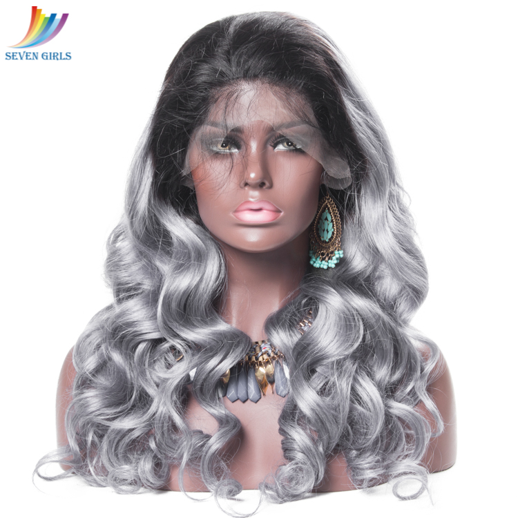 Sevengirls Brazilian Lace Front Wig 1B/Gray Wave Virgin Human Hair Wigs With Natural Hairline For Black Women Free Shipping