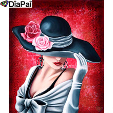 DIAPAI Diamond Painting 5D DIY 100% Full Square/Round Drill Beauty hat flower Embroidery Cross Stitch 3D Decor A24553