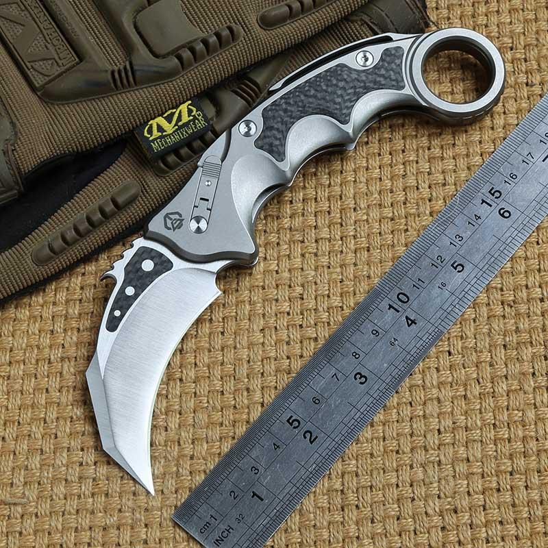 DICORIA MG pterosaur claw ball brearing Flipper folding knife M390 blade titanium CF outdoor hunting Survival