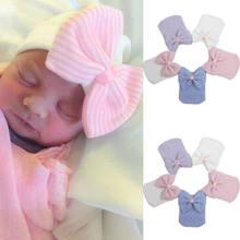 Niño bebés niños niñas sombreros turbante rayas Bowknot Beanie sombreros de  invierno gorras Bebé 0- f4c4c68ef49