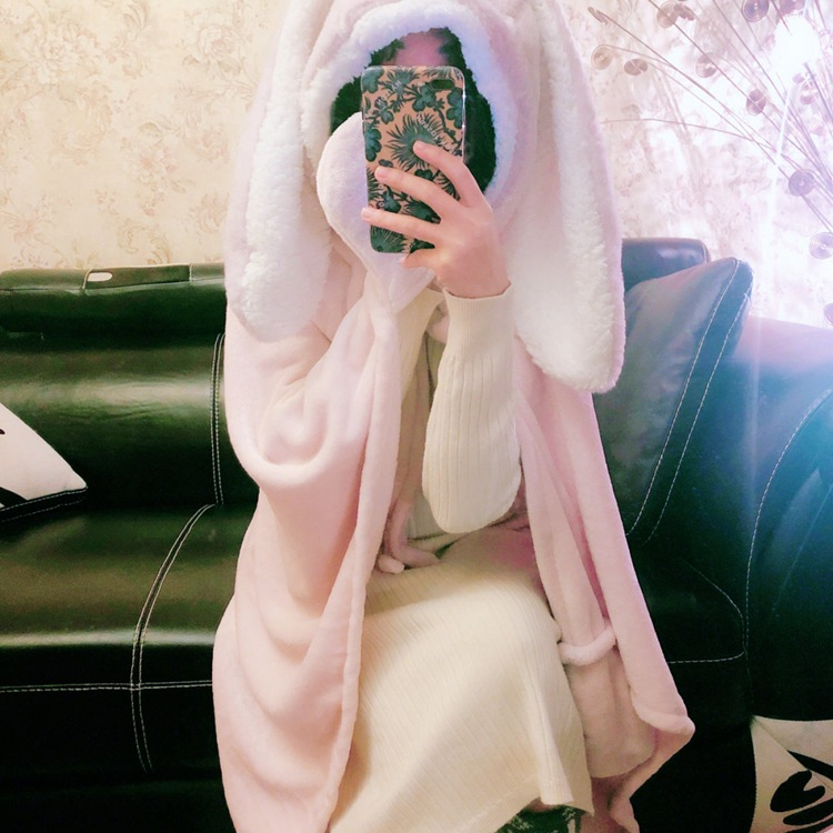 Cute Pink Comfy Blanket Sweatshirt Winter Warm Adults and Children Rabbit Ear Hooded Fleece Blanket Sleepwear Huge Bed Blankets 38