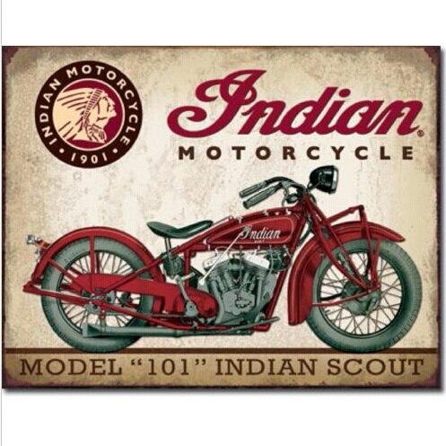 Indian Scout Motorcycle Model 101 Tin Sign Metal Wall Decor Garage Display 20x30CM