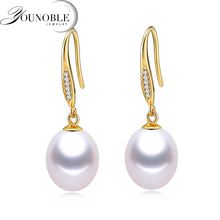 Real Pearl Jewelry Anti allergic 18k Solid Gold Earrings,Freshwater Drop Earrings Women Trendy Wedding E025