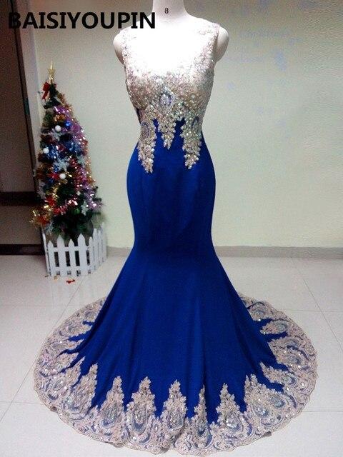 2f56ef91 Cristales largos vestidos de graduación 2019 Vestido largo Formatura Sexy  azul real gasa sirena noche