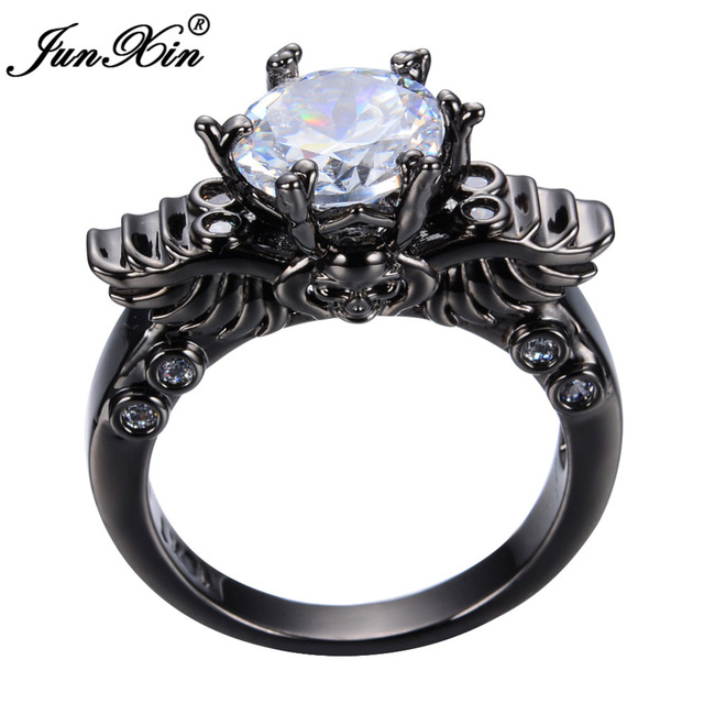 JUNXIN Punk Male Female Skull Ring Black Gold Simulated CZ Vintage