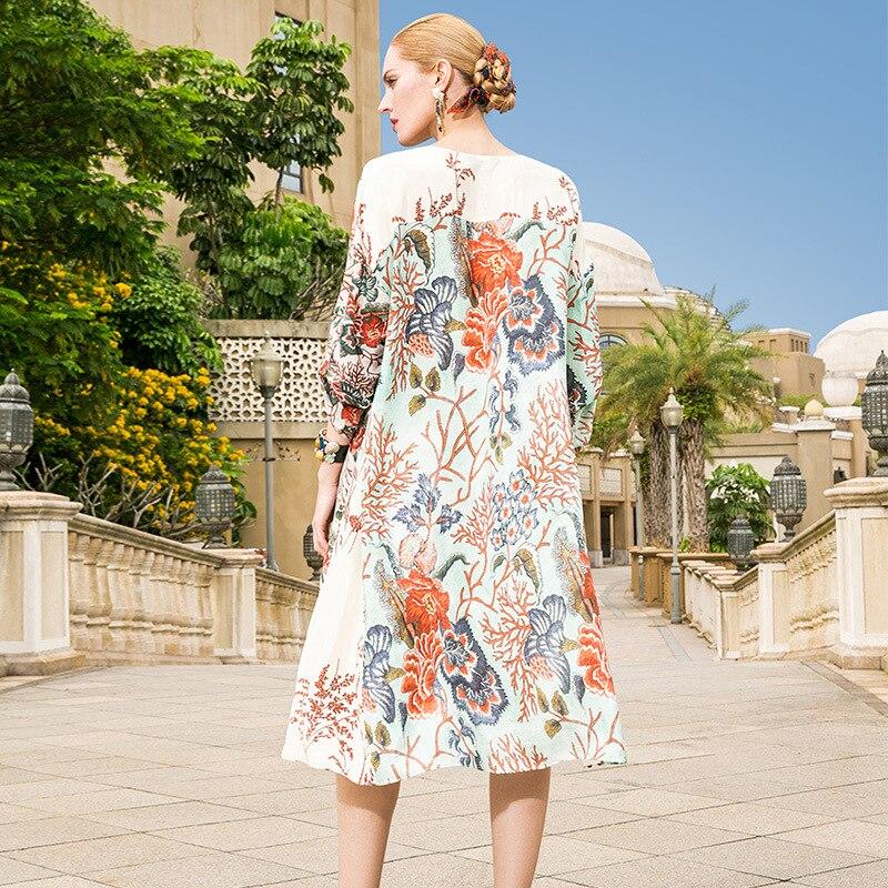 Impression Plage Haute Qualité Plus Femmes 2018 Robe Une Taille 100Soie Piste Ligne Beige Lady Lâche La D'été Office Nouveau BhQxsdtrC