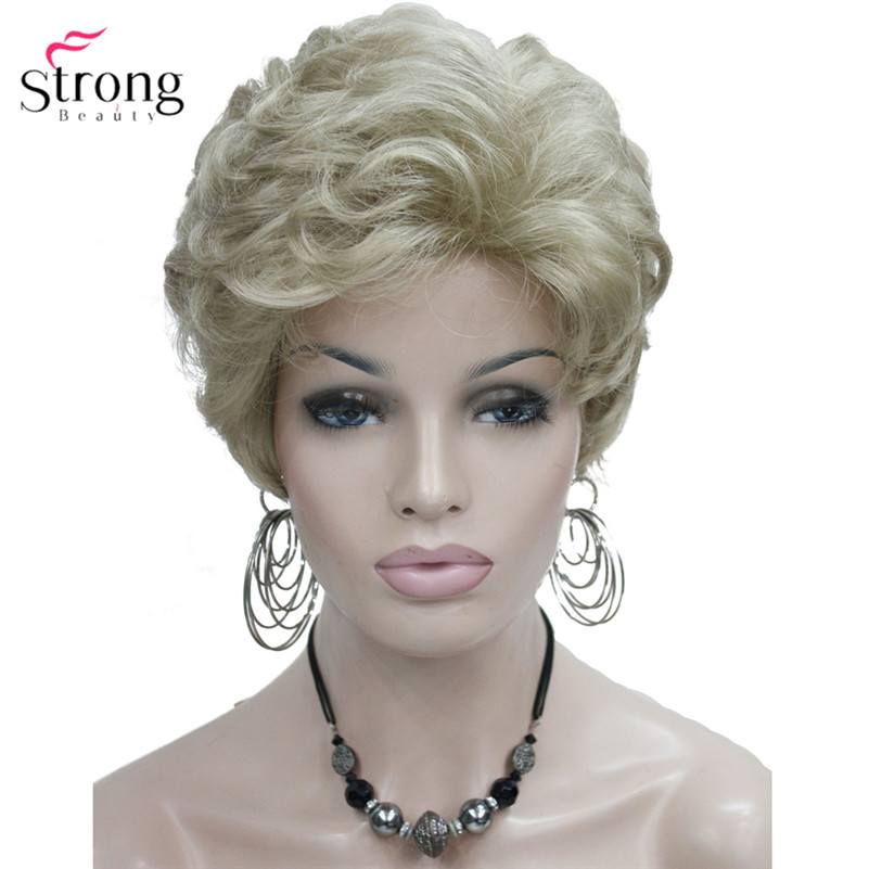 StrongBeauty Short Fluffy Natural Wave Blonde Full Synthetic Wigs Women's Hair Wig 6 Colors For Choose