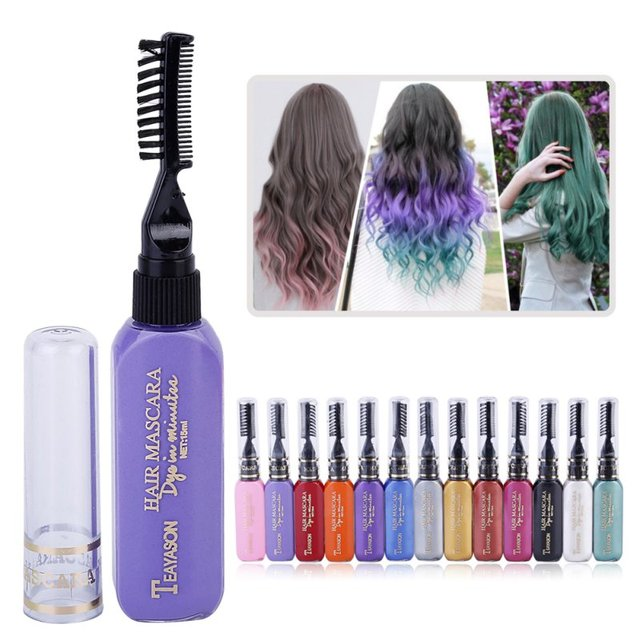13 Colors One-time Hair Temporary Color Hair Dye Non-toxic DIY Hair Color Mascara Dye Cream Hair Wax Blue Grey Purple 2