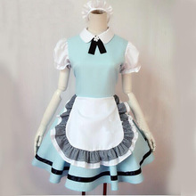 Venta caliente alice in wonderland traje lolita dress maid cosplay fantasia carnaval disfraces de halloween para las mujeres plue tamaño xl
