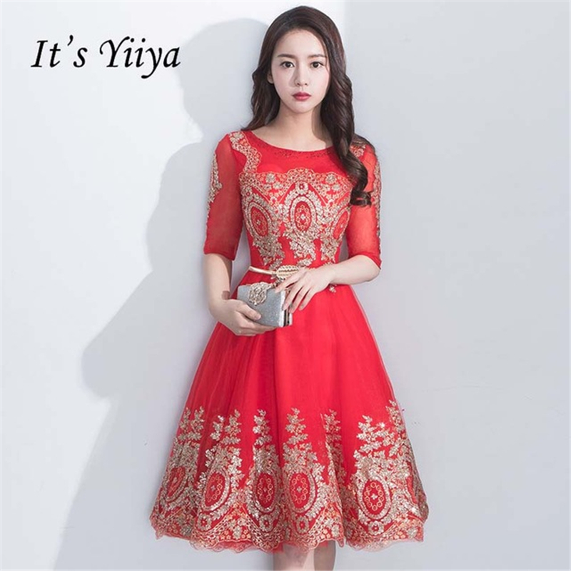It's YiiYa Bridesmaids Dresses for Lady O-neck Half Sleeves Bling Sequined Illusion Tea Length Short Formal Dress YS042