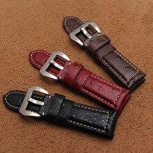 Assista acessórios New Alta qualidade Couro Genuíno couro de Couro com padrão de Avestruz Marrom Preto Vermelho Tiras de Largura 24mm