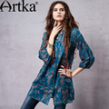 Artka Women's Winter New Boho Floral Print Cotton Shirt Vinatge Stand Collar Three Quarter Sleeve Comfy Blouse SA14157C