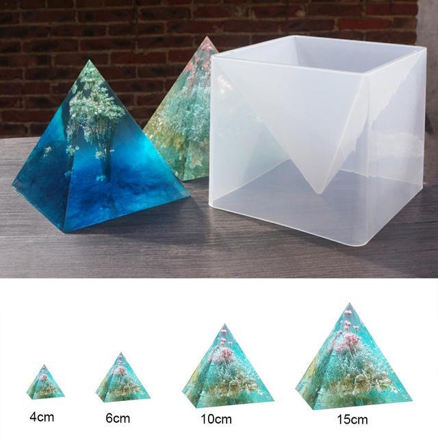 Molde de silicona súper pirámide 3D 15 cm DIY hecho a mano adorno decoración artesanal molde epoxi Color fino crema seca flor moldes