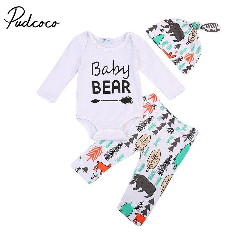 Pudcoco Newborn Kids Baby Boy Girl Clothes Jumpsuit Romper +Long Pants +Hat Outfit 3Pcs Clothing Set