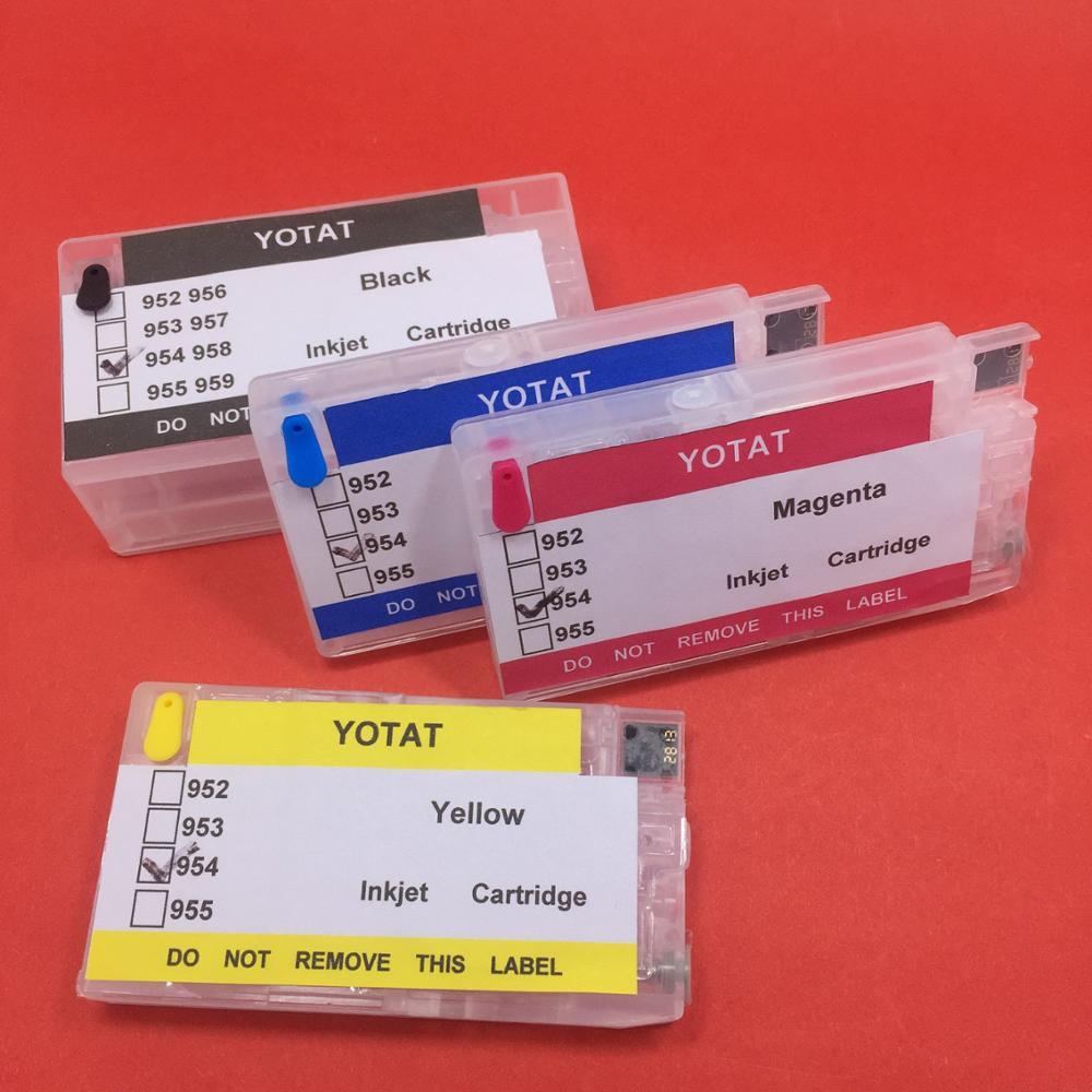 YOTAT (ARC puce) rechargeable cartouche d'encre pour HP 954XL HP954 pour HP OfficeJet Pro 8702 7720 7730 7740 8210 8218 8710 8720 8730