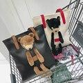 Urso de pelúcia Mulheres Casuais Sacos de Ombro Femininos Grandes Sacolas Bolsa Das Senhoras Grande Capacidade principal sac femme marque de Retro