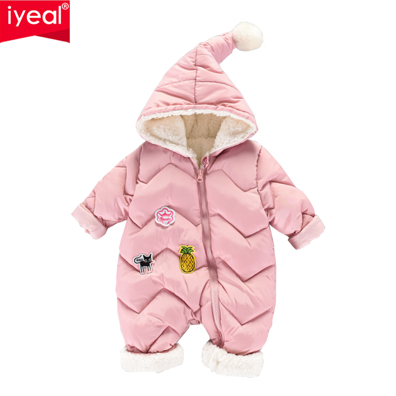 IYEAL Baby Rompers Thick Warm Baby Boy Clothes Newborn Clothing Kids Girl Clothes Winter Roupas Bebe Infant Toddler Jumpsuits цена