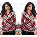 2016 Plaid T-shirt Fashion Women Sexy Long Sleeve V Neck Shirt Autumn Casual Tops Tees Loose Cotton Tops T Shirt Blusas Feminina