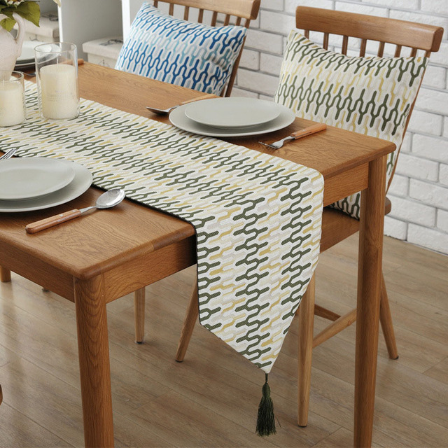 european style table runners for wedding geometric figure tv cabinet Long Night Table