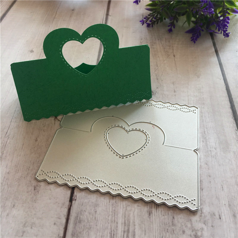 DIY cuts into HEART CUT METAL gift packaging bag topper head paper craft Scrapbook card holder Scrapbooking Embossing