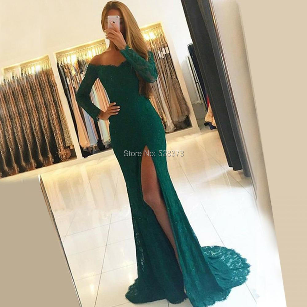 YNQNFS ED44 Robe De Soiree Vestido De Festa Longo Long Sleeve High Leg Slit Party Evening Mermaid Dress Lace