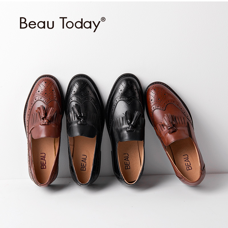 BeauToday Brogues Loafers Women Genuine Calfskin Leather Wingtip Tassel Fringe Round Toe Slip-On Lady Flats Handmade A21046