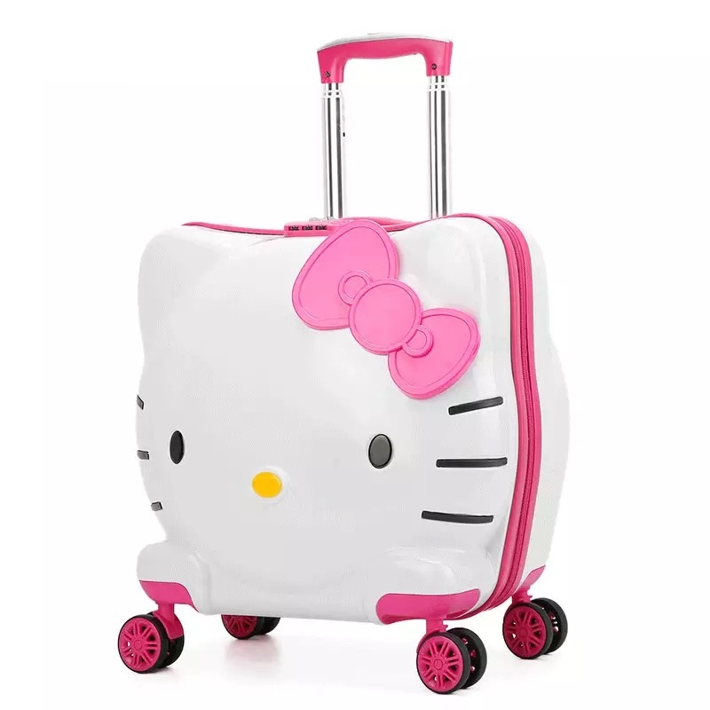 1478a94320 Kids Hello Kitty Rolling Luggage Bag Children s Suitcase with wheels Pink  Trolley Case with Lock Boys Girls Carry On Travel Box