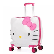42f40087def6 Kids Hello Kitty Rolling Luggage Bag Children s Suitcase with wheels Pink  Trolley Case with Lock Boys Girls Carry On Travel Box