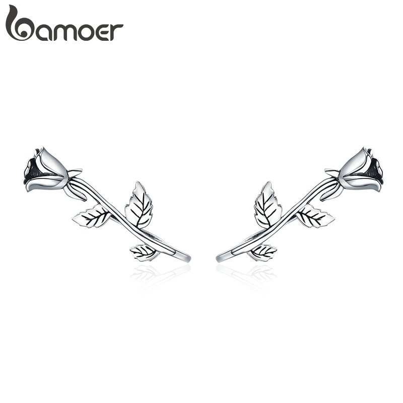BAMOER Authentic 100% 925 Sterling Silver Rose Flower Plant Stud Earrings for Women Sterling Silver Jewelry Mom Gift SCE380BAMOER Authentic 100% 925 Sterling Silver Rose Flower Plant Stud Earrings for Women Sterling Silver Jewelry Mom Gift SCE380