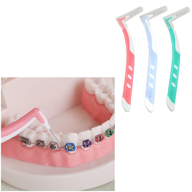 1pcs Dental Floss Orthodontic Floss Interdental Brush Toothpick Between Teeth Brush Oral Care Long Handle Teeth Clean