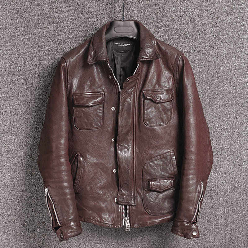 2019 New Motorcycle Genuine Leather Jacket Men Sheepskin Coat Slim Fit Real Leather Jackets Casual Chaqueta Cuero Hombre KJ2312