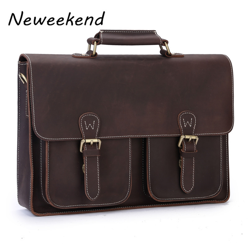 NEWEEKEND 6922 Retro Casual Genuine Leather Crazy Horse 14 Inch Cowhide Crossbody Briefcases Handbag laptop Ipad Bag for Man neweekend 1005 vintage genuine leather crazy horse large 4 pockets camera crossbody briefcase handbag laptop ipad bag for man
