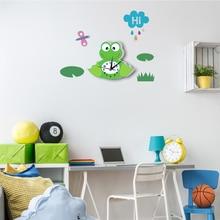 Прекрасный мультфильм лягушка 3D наклейка в виде настенных часов Silent Современный ПВХ настенные часы для детей для детской комнаты спальни задний план украшения дома