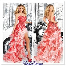 Best Sell! 2015 New Graceful Red Asymmestrical Organza And Lace Floor-length Prom Dresses With Beading Ruffles Custom Made