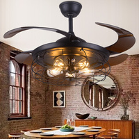 Ретро потолочный вентилятор для гостиной, спальни, кухни, потолочный вентилятор, промышленный винтажный домашний декор, 42 дюйма, выдвижные
