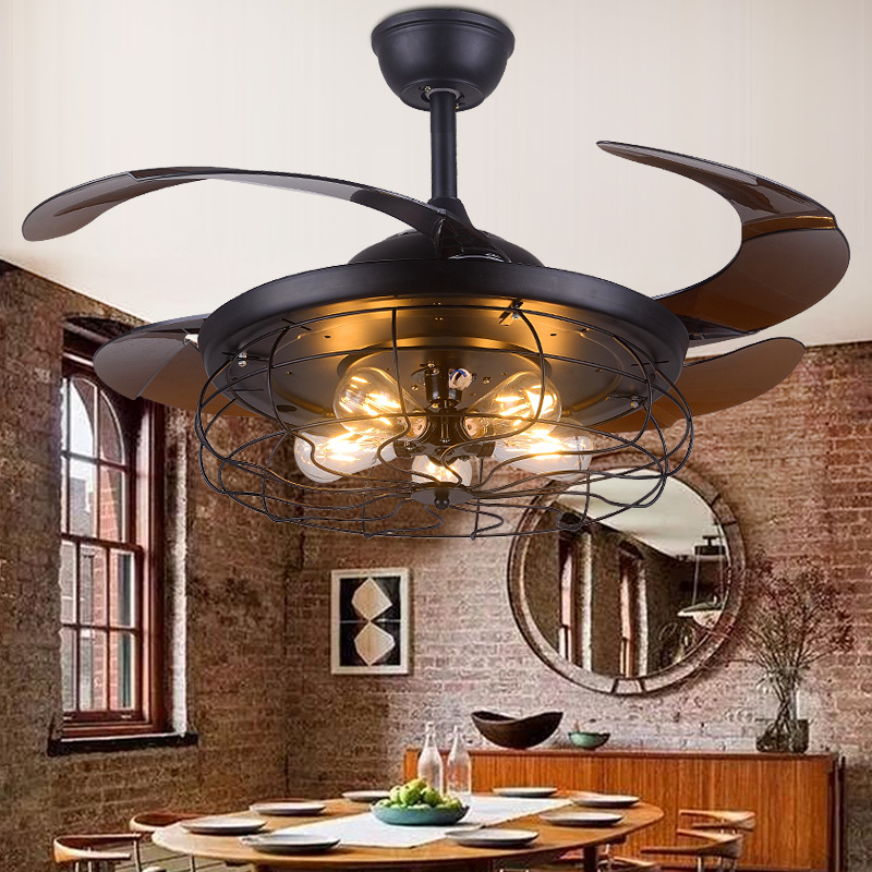 Ceiling Fans Kitchen: Retro Ceiling Fan Light For Living Room Bedroom Kitchen