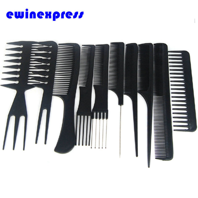 Hair Styling Combs 1 X Hair Styling Comb Set Black Plastic Combs Salon Hair Styling .