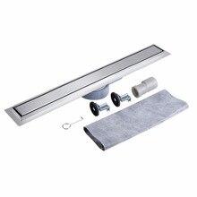 90cm Stainless Steel Floor Drain with Installation Kit Linear Tile Deodorant Shower Floor Drain For Bathroom Kitchen