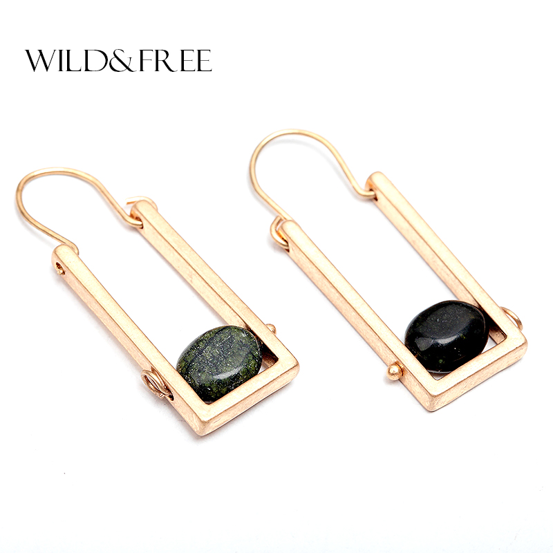 Wild & Free Women Vintage Natural Stone Drop Earrings Antique Gold Zinc Alloy Rectangle Geometric Drop Earrings Boho Jewelry