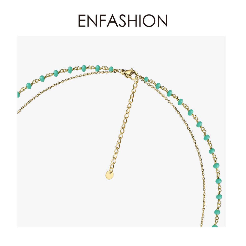 Enfashion Eye Boho wakacje naszyjnik kobiety oświadczenie podwójny łańcuszek choker naszyjniki biżuteria ze stali nierdzewnej kołnierz Mujer PM193005