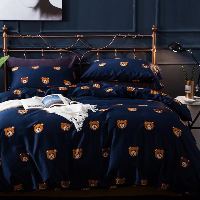Tutubird Royal Blue Bear Bedding Set Luxury 100 Egyptian Cotton