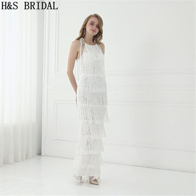 H&S BRIDAL Ivory boho wedding dress Tassel lace wedding Gown ...