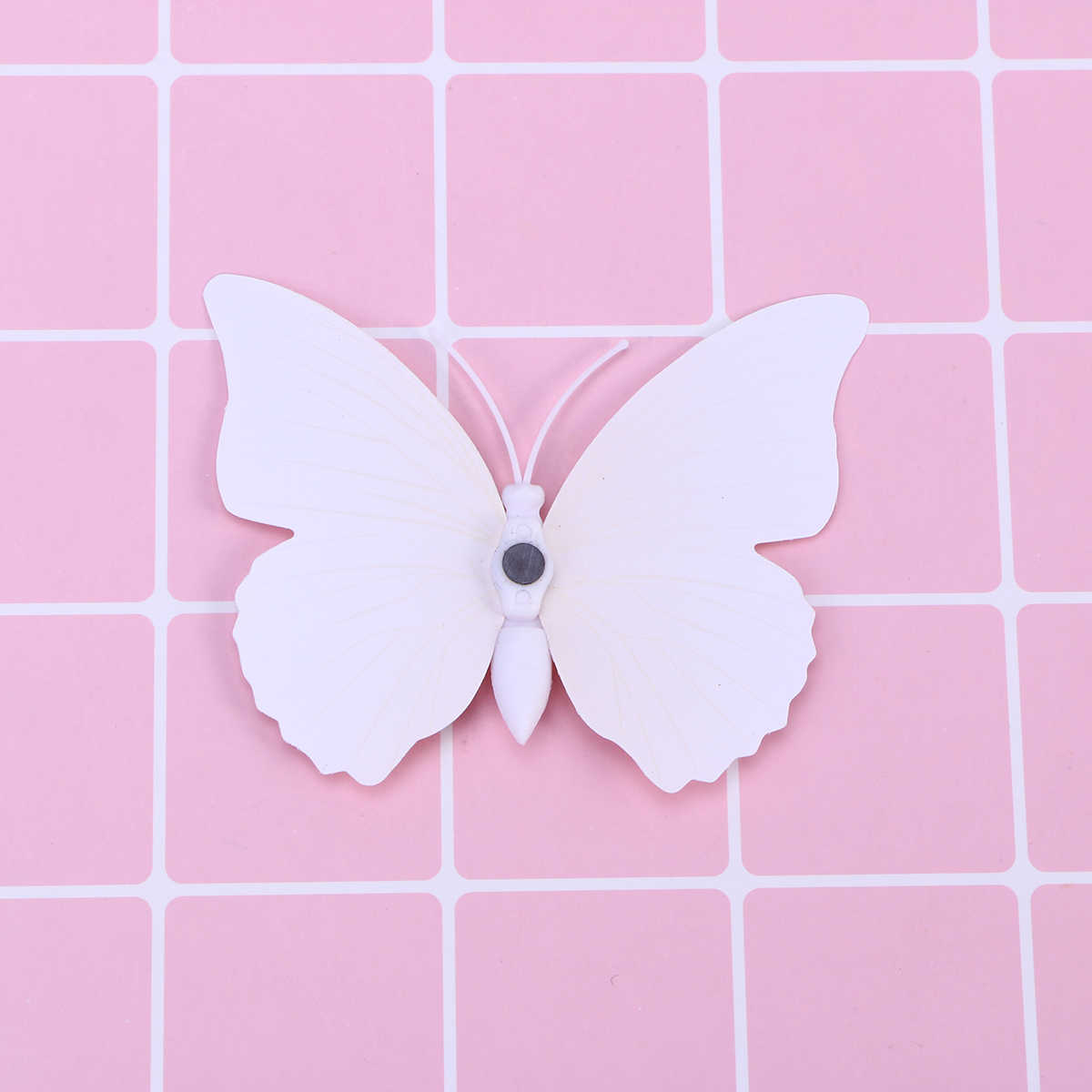 12 Pcs 3D Butterfly Wall Sticker Removable Wall Decals Art Murals for Bedroom Living Room Kitchen-Pin Style(White)