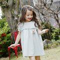 Verano de Los Niños Ropa de Color Verde Claro Nuevas Chicas Coreanas Ropa de Calidad Traje de Niño Manga de Soplo del Vestido Ocasional Vestido de Los Cabritos