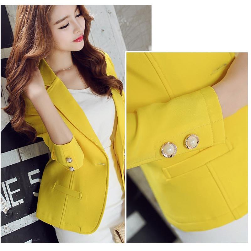 Ohryiyie Green/yellow Single Button Ladies Blazers Women 2019 Spring Autumn Women Suit Jackets Blazer Femme Office Tops Coats #6