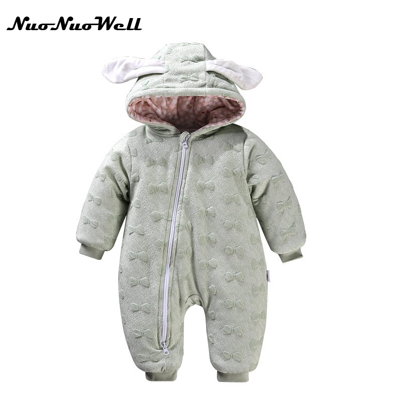 NNW Autumn Winter Baby Thick Cotton Climb Clothes Children Cotton Thickening Long-sleeved Jumpsuits Boy Girl Cute Hooded Romper 2017 new baby winter romper cotton padded thick newborn baby girl warm jumpsuit autumn fashion baby s wear kid climb clothes